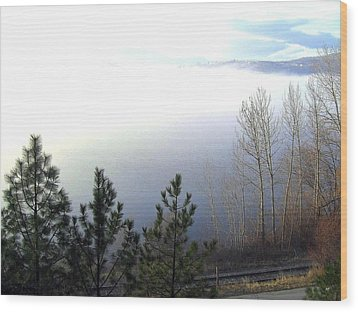 Fog On Wood Lake Wood Print by Will Borden