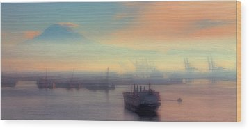 Fog Over The Tide Flats Wood Print by David Patterson