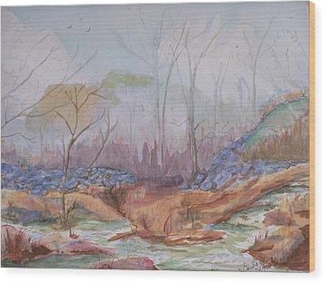 Foggy Fall Morning Wood Print