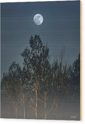 Foggy Forest With Full Moon Wood Print by Peg Runyan
