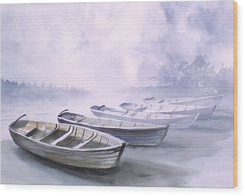 Wood Print featuring the painting Foggy Morning by Richard Willows