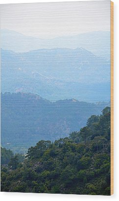 Foggy Mountain Layers Wood Print