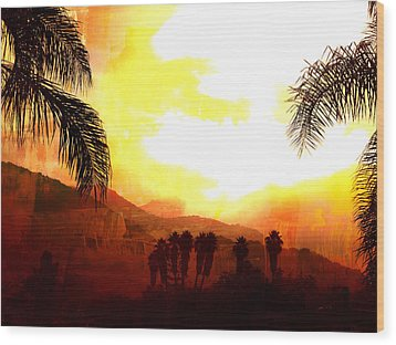 Foggy Palms Wood Print by Sharon Soberon