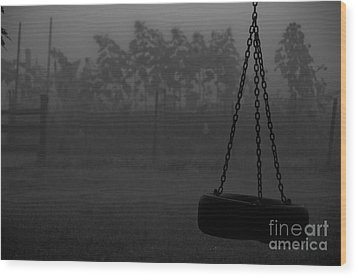 Foggy Playground Wood Print by Cheryl Baxter