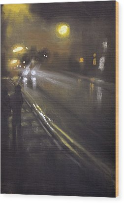 Foggy Street 6 Wood Print by Paul Mitchell