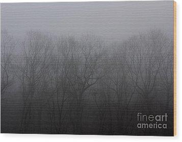 Foggy Treeline Wood Print by Lee Dos Santos