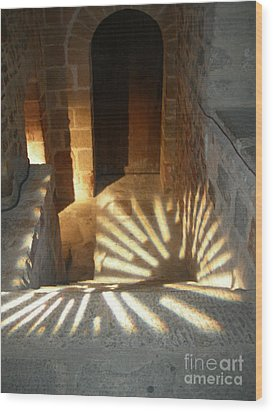 Follow The Light-stairs Wood Print