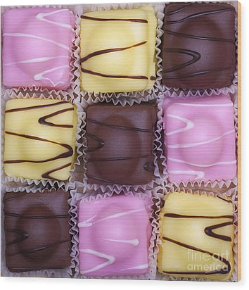 Fondant Fancies Wood Print by Jane Rix