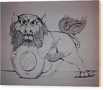 Foo Lion Wood Print by Ronald Mcduff