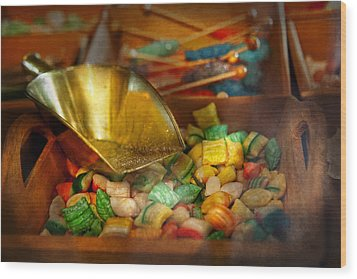 Food - Candy - One Scoop Of Candy Please  Wood Print by Mike Savad