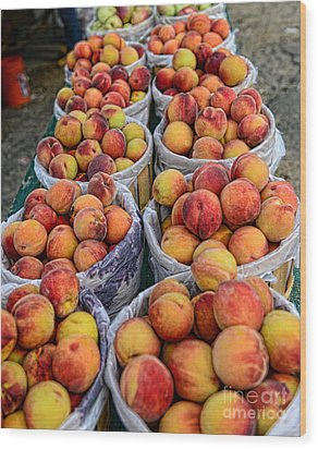 Food - Harvested Peaches Wood Print by Paul Ward
