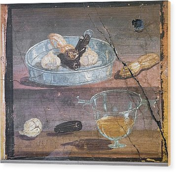 Food And Glass Dishes, Roman Fresco Wood Print by Sheila Terry