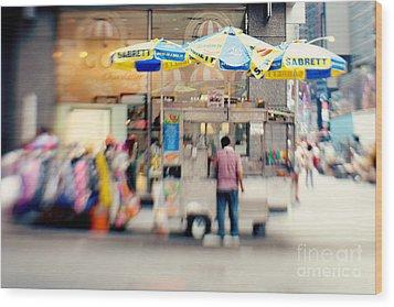 Food Vendor In New York City Wood Print by Kim Fearheiley