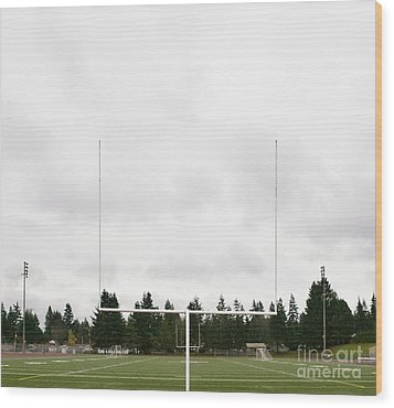 Football Field And Goalpost Wood Print by Andersen Ross