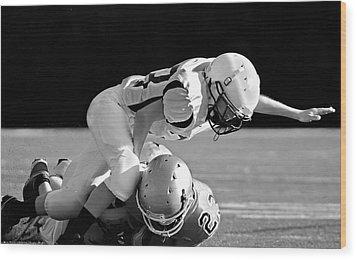 Football In Black And White Wood Print by Susan Leggett