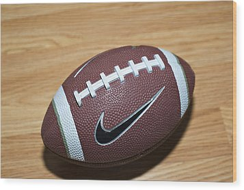 Football Wood Print by Malania Hammer