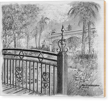 Wood Print featuring the drawing Footbridge-spanish Springs by Jim Hubbard