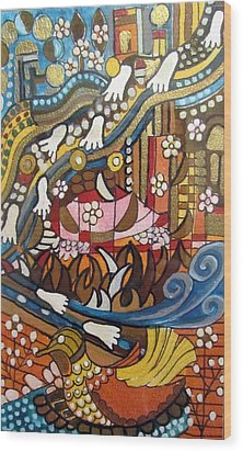 Footsteps To Peace Colorful Abstract Symbolism With Urban Cityscape Path Tracks Bird Dove Wood Print by Rachel Hershkovitz