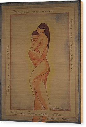 Wood Print featuring the painting For Each Other by Teresa Beyer