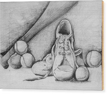 For The Love Of Baseball Wood Print by Shelbi Ummel