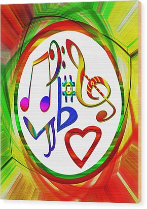 For The Love Of Music Wood Print by Susan Leggett