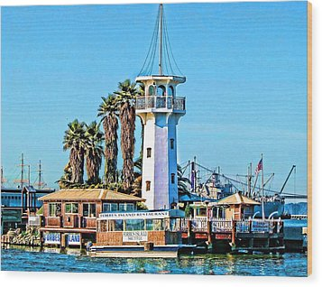 Forbes Island Lighthouse Wood Print by Linda Gesualdo