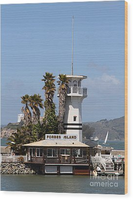 Forbes Island Restaurant With Alcatraz Island In The Background . San Francisco California . 7d14257 Wood Print by Wingsdomain Art and Photography