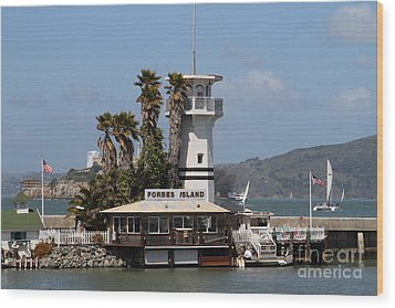Forbes Island Restaurant With Alcatraz Island In The Background . San Francisco California . 7d14258 Wood Print by Wingsdomain Art and Photography