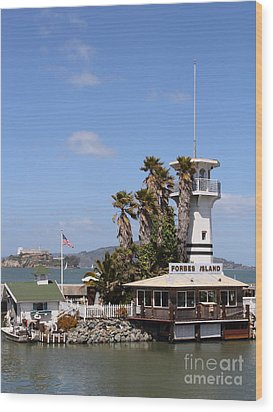 Forbes Island Restaurant With Alcatraz Island In The Background . San Francisco California . 7d14263 Wood Print by Wingsdomain Art and Photography