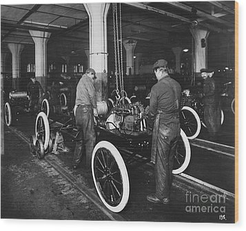 Ford Assembly Line Wood Print by Omikron