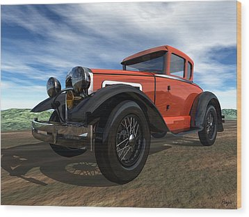 Wood Print featuring the digital art Ford Model A by John Pangia