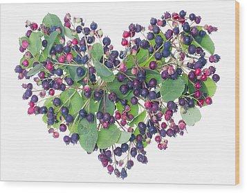 Forest Berries Heart Wood Print by Aleksandr Volkov