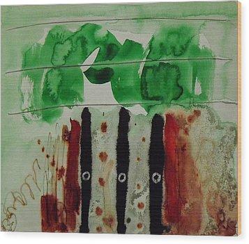 Forest Drawing Wood Print by Jorgen Rosengaard