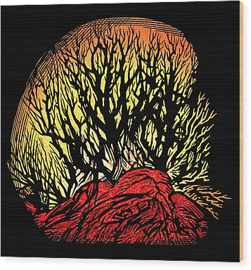 Forest Fire, Lino Print Wood Print by Gary Hincks