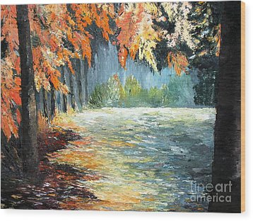 Forest In Fall Wood Print by AmaS Art