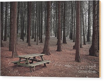 Forest Table Wood Print by Carlos Caetano