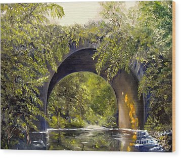 Wood Print featuring the painting Forgotten Train Bridge by Carol Sweetwood