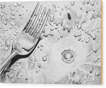 Fork And Drops Wood Print by Eleonora Perlic