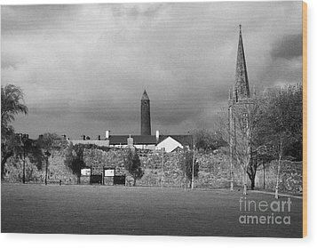 Former Castle And Bishops Palace And Workhouse Site With Cathedral And Round Tower Killala Wood Print by Joe Fox