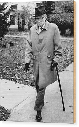 Former President Harry Truman Walks Wood Print by Everett
