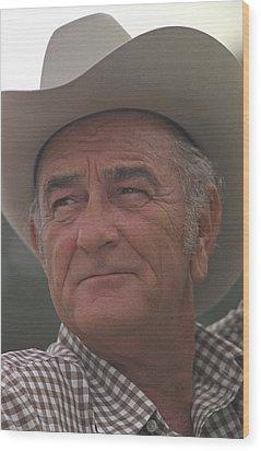 Former President Lyndon Johnson. Lbj Wood Print by Everett