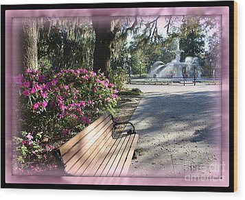 Forsyth Park In Spring Pink Wood Print by Carol Groenen