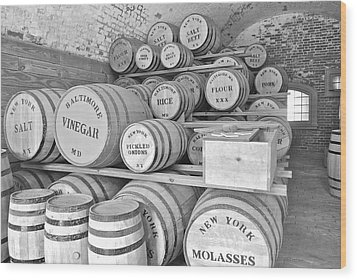 Fort Macon Food Supplies Bw 9070 3759 Wood Print by Michael Peychich