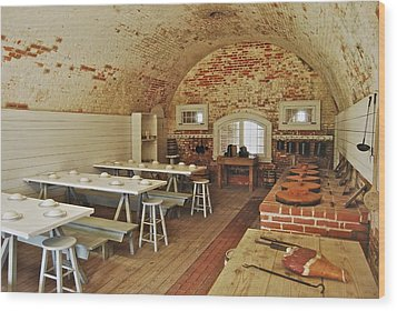 Fort Macon Mess Hall_9078_3765 Wood Print by Michael Peychich