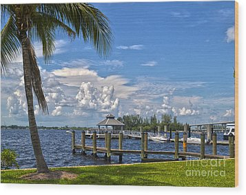 Fort Myers Dock Wood Print by Timothy Lowry