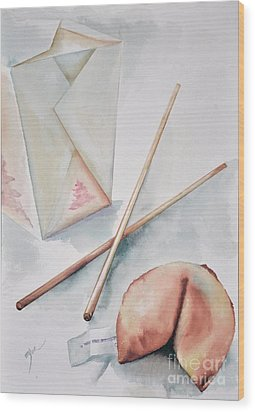 Fortune Cookie Wood Print by Elizabeth York