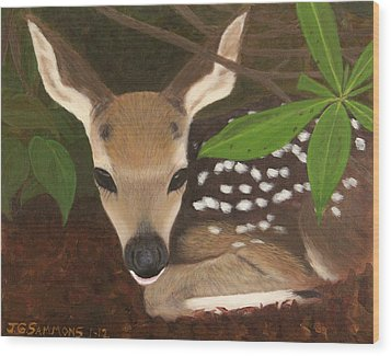 Wood Print featuring the painting Found A Fawn by Janet Greer Sammons