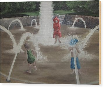 Wood Print featuring the painting Fountain by Angela Stout