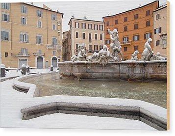 Fountain Of Neptune Wood Print by Fabrizio Troiani