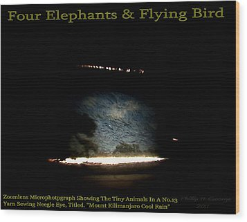 Four Elephants And Flying Bird  Wood Print by Phillip H George